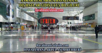 Ankara Esenboğa Havalimanı Dış Hatlar Gidiş Uçuş Bilgileri